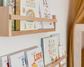 Bookshelves: Flat Front - Kids Bookshelf - Childrens Book Shelf - Nursery Shelves - Floating Shelves - Kids Room Wall Shelf -Kids Room Decor