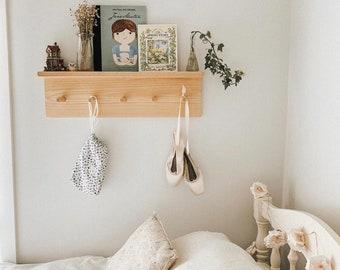 Peg Shelf - Nursery Shelf - Display Shelf - Peg Rail with Shelf - Timber Peg Hooks - Nursery Decor - Wooden Hooks - Wood Shelf - Pine Timber