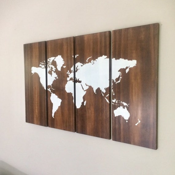 Large World Map Wall Art On Wood 4 Piece Set Rustic Style Etsy