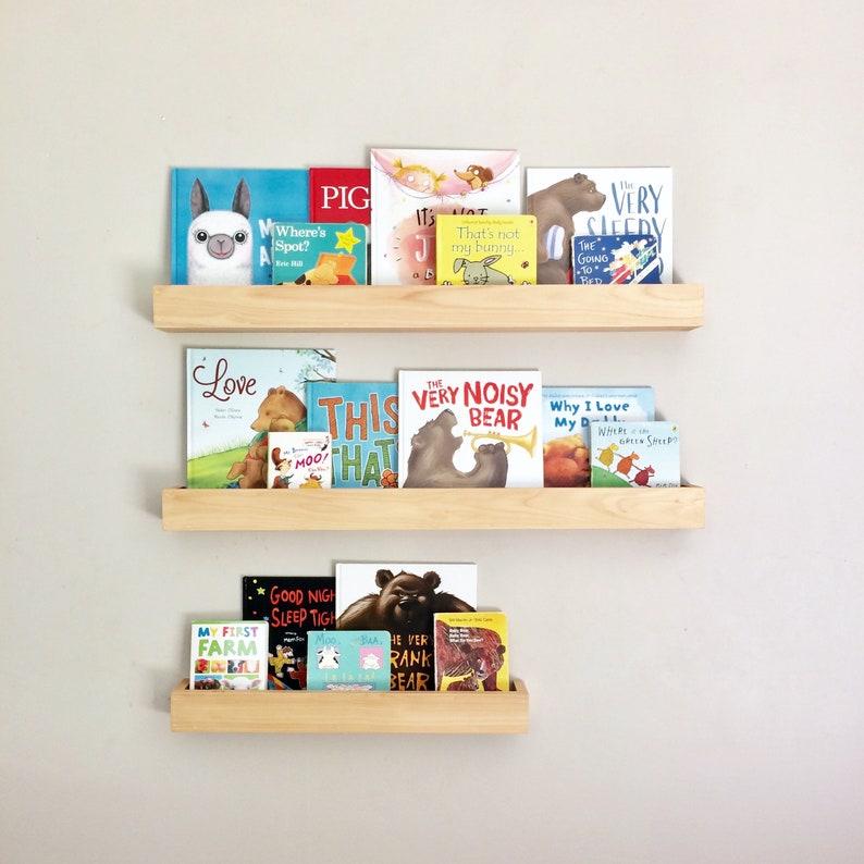 Kids Book Ledges - Childrens Bookshelf - Kids Bookshelves - Wood Book Shelf  Wall Mount - Nursery Kids Room - Scandinavian Style - Farmhouse
