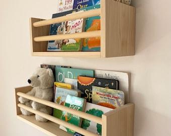 Book Trough - Extra Deep Kids Bookshelf - Wood Book Shelf - Nursery Shelves - Floating Shelves - Kids Room Wall Shelf - Kids Room Decor