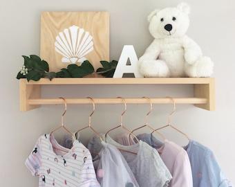 Hanging Shelf - Nursery Hanging Rack - Kids Wooden Clothes Rack Shelf - Childrens Timber Clothes Rack - Childrens Clothing Rack