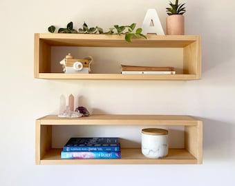 Floating Box Shelf - Wood Cube Shelf - Timber Floatings Shelves - Wooden Cube Shelves - Shadow Box Shelf - Floating End Table Nightstand