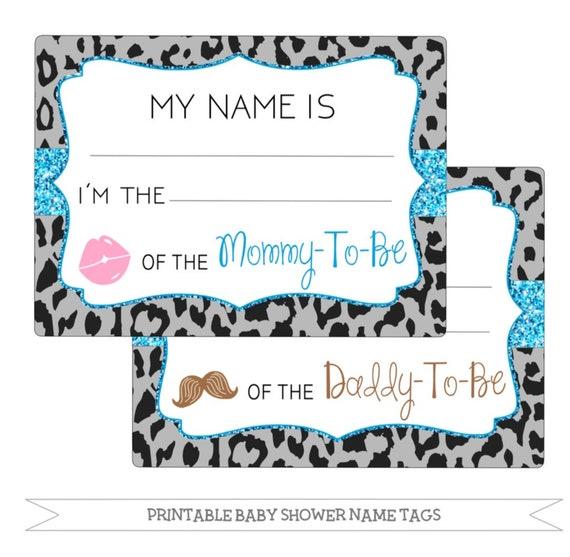 Printable Baby Shower Name Tags Black Cheetah Print