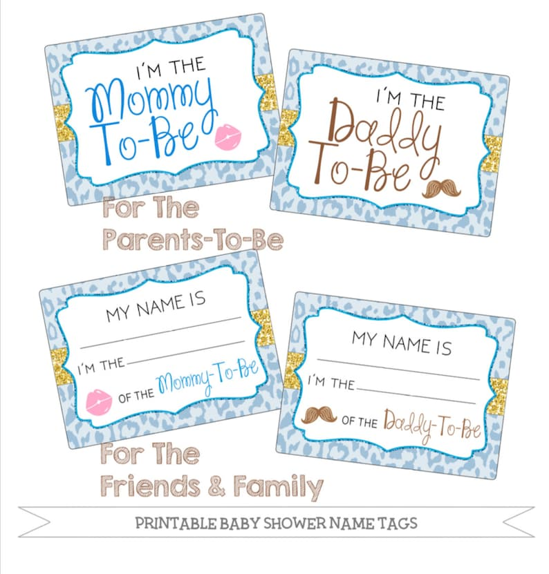 Printable Baby Shower Name Tags Package Blue Cheetah Etsy