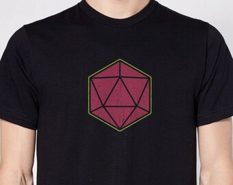 D20 Twenty-Sided Dice T-Shirt Dungeons & Dragons Pathfinder Roleplaying Fantasy Nerd Game RPG Design 100% Ringspun Cotton