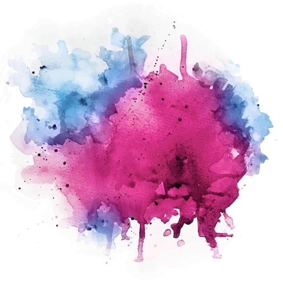 Watercolor Splash Vector Psd File Pink Magenta Blue Etsy