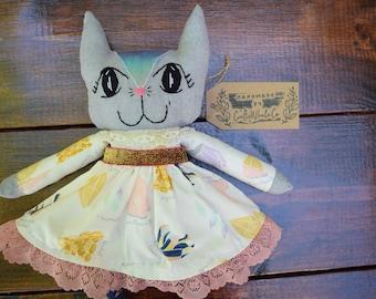 Crystal Kitty cat doll   Cat lovie   Handmade cat doll   Cat plush   Glitter fabric metalic cat doll