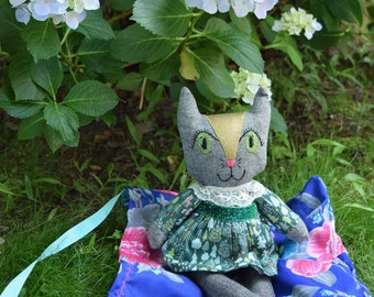 Cat Lovie , Cat Doll , Woodland Cat Doll , Camping Cat Doll , Bed time Cat Doll , Woodland Friend