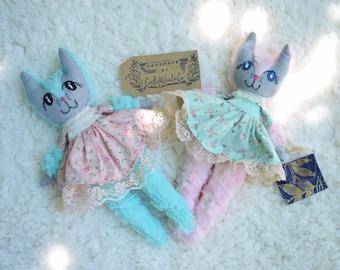 Cat Doll , Cat lovie , Glitter Cat Doll , Handmade cat doll , Cat plush , Kitty cat doll