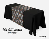 Sugar Skull 6 39 Table Throw 24 quot Table Runner Combo Day of the Dead Dia de Los Muertos Halloween Table Cover Table Cloth
