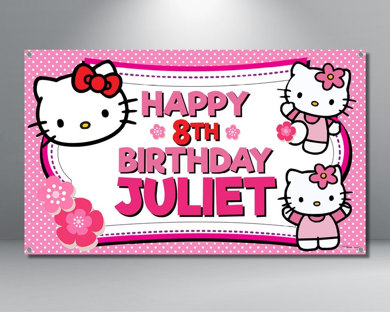 ddc000533 Hello Kitty Birthday Banner Personalized Custom Banner | Etsy