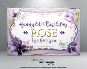 Purple Flower Butterfly Birthday Banner - Personalized Custom Banner