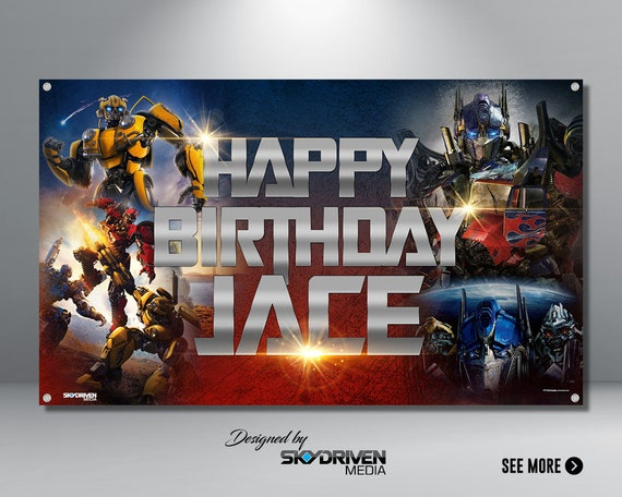 Transformers Birthday Banner   Bumble Bee   Transformers Movie   Optimus  Prime   Robot   Kids Banner   Backdrop   Banner   Birthday   Party