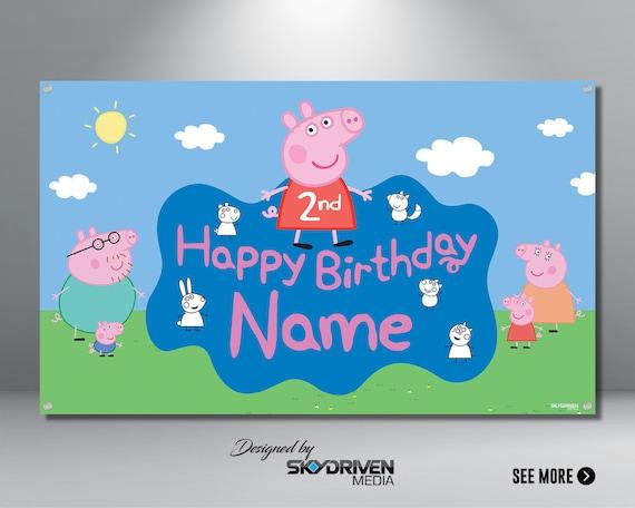 Peppa Pig Birthday Banner Peppa Pig Cartoon Banner Peppa Pig Birthday Party Vinyl Banner Peppa Pig