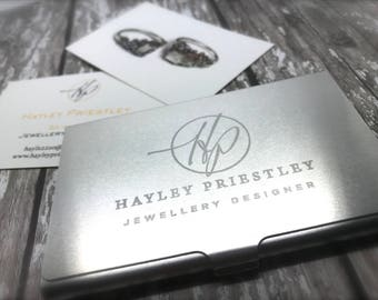 Business card holder etsy personalised aluminium business card holder corporate gift engrave your own logo colourmoves