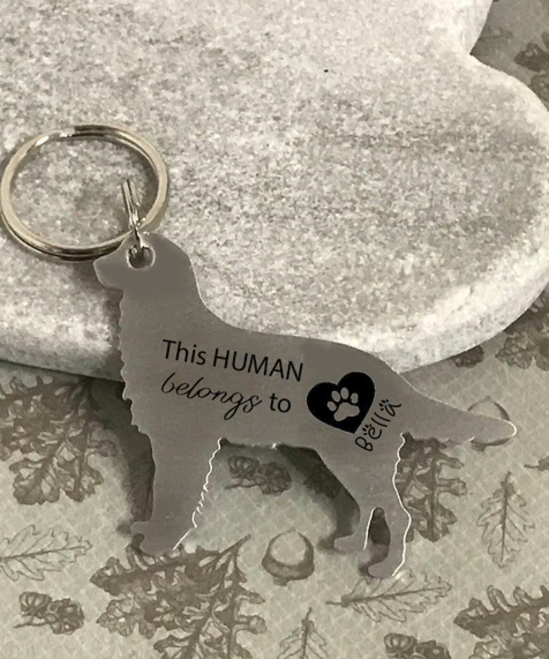 Gifts For Golden Retriever Owners - Personalized Golden Retriever dog key ring.