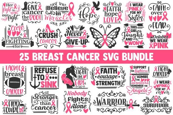 Breast Cancer Svg Bundle Cancer Awareness Svg Cancer Svg Etsy