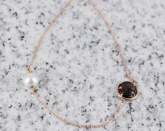 18k Smokey Quartz / Pearl Bracelet