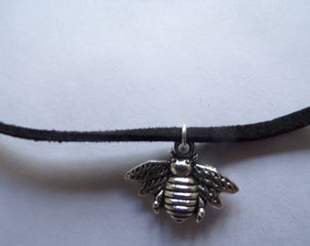 Bee faux suede necklace