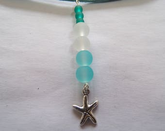 starfish and seaglass pendant faux suede choker