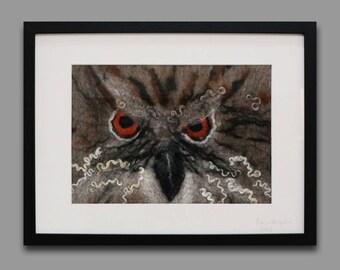 Owl - Felt art (framed)
