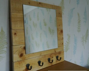 Handmade Rustic Reclaimed Wood Square Wall Mirror with hooks