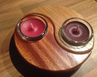 Ying and Yang tea candle holders