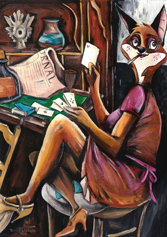 Tea Time PRINT A4A5 dog, crocodile, doggo, dog, British, gouache, classic neo Mary Cassatt
