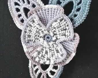 Irish crochet flower brooch