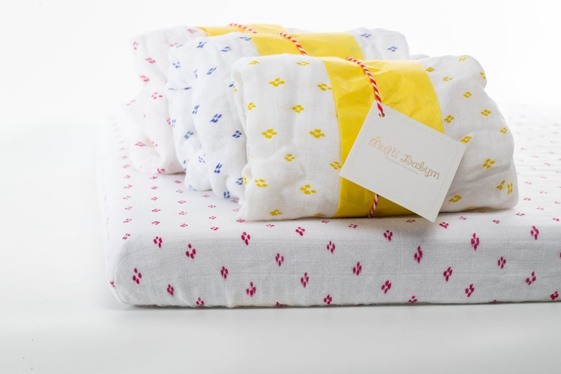 White and Yellow Vintage Print Soft Bamboo Fitted Crib Sheet