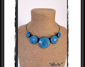 Polymer mokume gane blue/black/silver/white fashion necklace