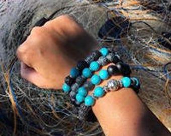 Bracelet stones Semi-precieuses Onyx Black lava Turquoise Silver man/woman