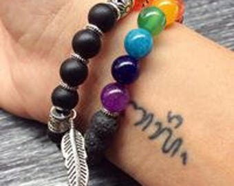 Bracelet 7 Chakras Onyx Black-lava-Agate-Rudraksha stones natural Semi precious gemstone and sacred