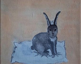 Hare, Hare, rabbit, pillow, dream, painting, Crown, krona, Crown, acrylic, chill out