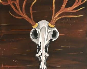Stag antler skull,painting
