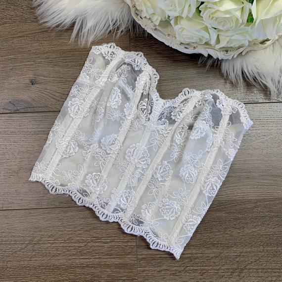 34D Vintage Victorias Secret White Lace Bustier C… - image 2