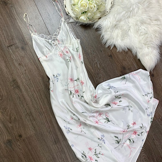 Sz S/M Vintage Christian Dior Silky White Floral P