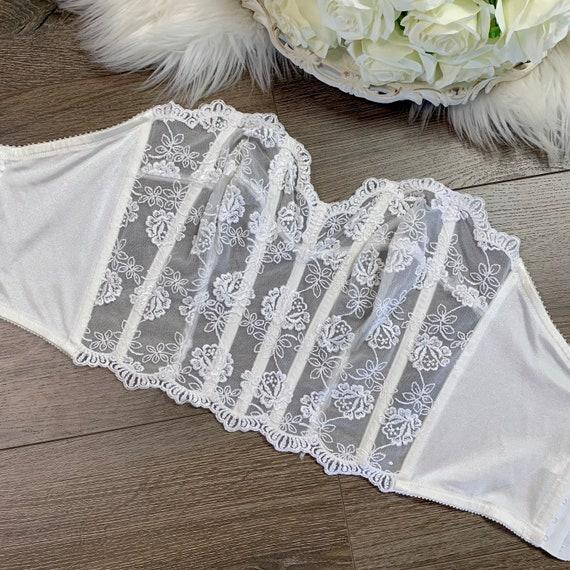 34D Vintage Victorias Secret White Lace Bustier C… - image 1