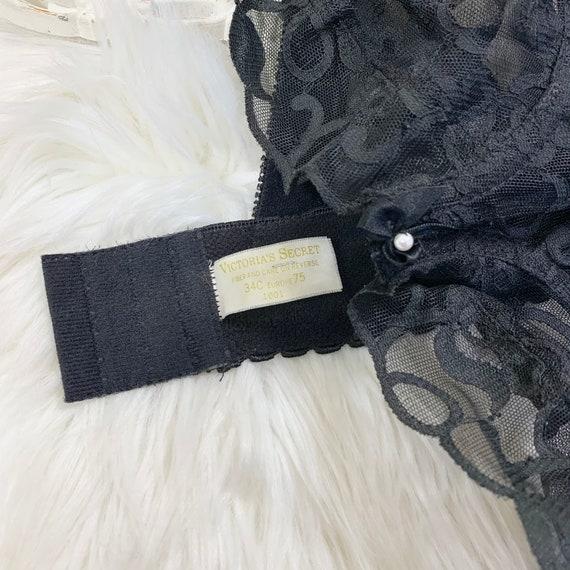 34C Vintage Victorias Secret Gold Label Black Lac… - image 3