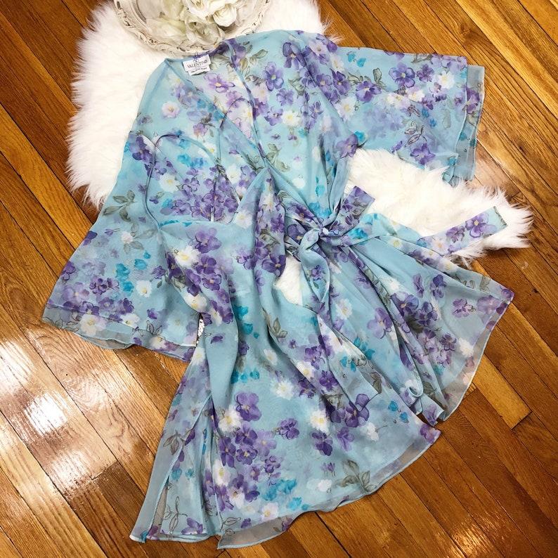 Sz S Vintage 80s Chiffon Floral Short Peignoir Lingerie Sleep Set