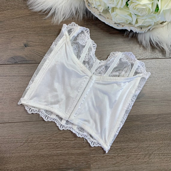 34D Vintage Victorias Secret White Lace Bustier C… - image 4