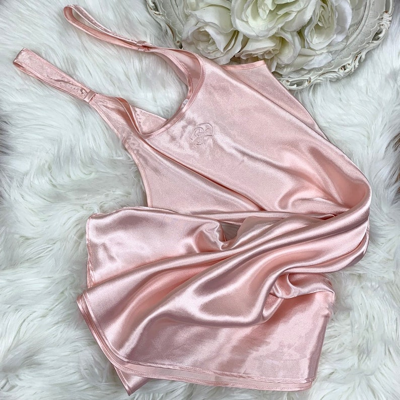 Sz M Vintage Y2K Oscar de la Renta Silky Pink Lingerie Slip Dress