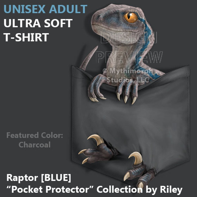 Adult Ultra Soft T-Shirt: Raptor BLUE Pocket image 0