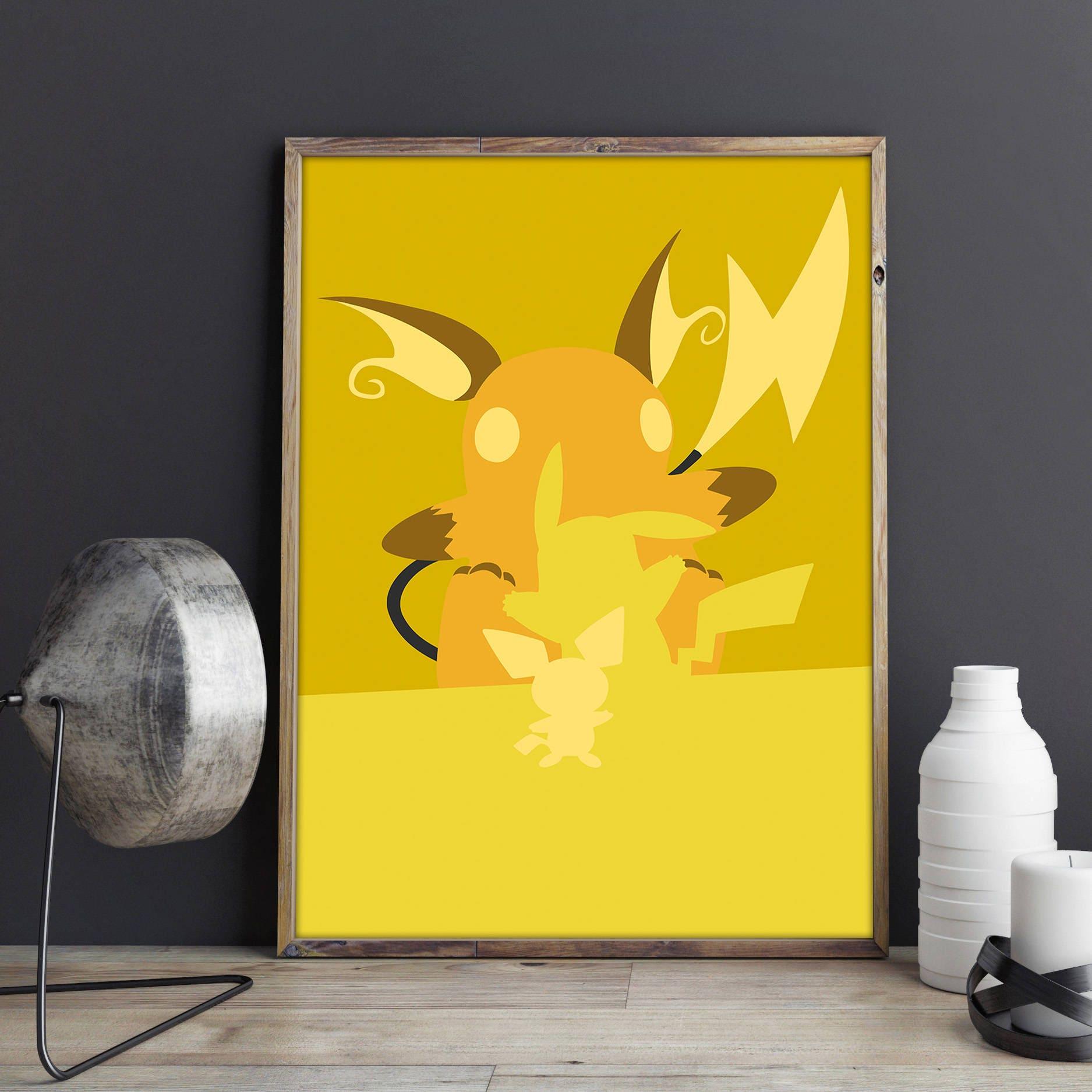 Pokemon Poster Pikachu Print Pokemon Wall Art Minimalist