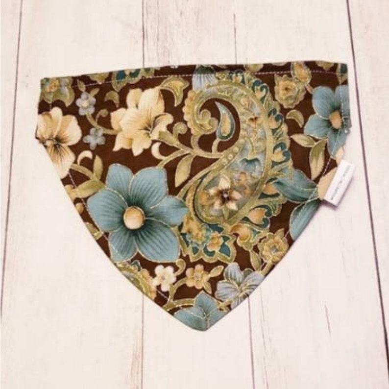 GOLD /& TEAL PAISLEY floral reversible collar bandana