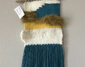 Weaving wall mustard, Teal and white set