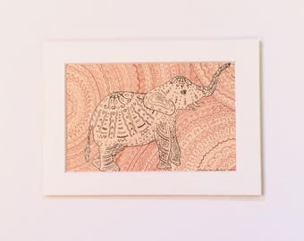 Zen Elephant zentangle drawing sepia tones art print in white mat, Small Original Artwork, Gallery Wall, Hostess Gift, Housewarming