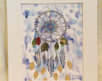 Floating Dream Catcher Mandala Bohemian Watercolor and Marker Art Print, Great for Gallery Wall, Housewarming Gift, Home Decor