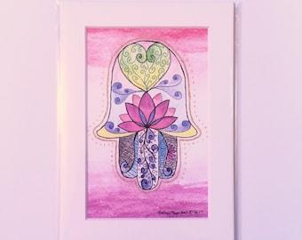 Lotus Heart Hamsa Drawing Art Print in White Mat, Small Original Artwork, Great for Gallery Wall, Hostess Gift, Housewarming, Valentine's